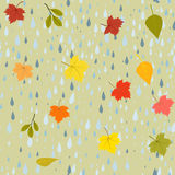 Pattern autumn rain. Seamless pattern autumn rain and colorful leaves in drops of rain, vector illustration Royalty Free Illustration