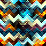 Pattern in aztecs style on chevron background Stock Images