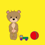 Pattern baby bear with toys Royalty Free Stock Photography