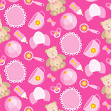 Pattern for Baby girl. A cute Newborn seamless pattern for Baby girl.Baby design elements,for fabric,background,wallpaper,backdrop. New born baby infographic Stock Photography