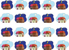 Pattern for baby tissues. The pattern of the houses for children's items: bedding, pajamas. Can be used as a background Royalty Free Stock Photography
