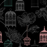 Pattern background with birdcages Stock Photos