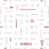 Pattern background construction hardware, screws, bolts, nuts and rivets. Equipment stainless, fasteners, metal fixation. Gear on seamless pattern vector illustration