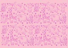 Pattern background with cute animals. Pink background vector illustration