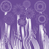 Pattern background flowers and grass. Drawing template flowers and grass circles ethnic purple background Royalty Free Stock Images