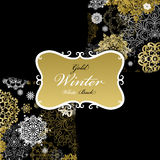 Pattern background with golden white snowflakes text  label. Royalty Free Stock Image