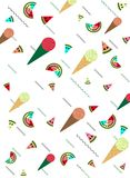 Pattern background with icecream and watermelon , flat summer st stock illustration