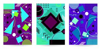 Pattern background in flat colorful memphis style.Vector illustr. Pattern background with lines, dot, triangles in flat memphis style.Vector illustration.Design royalty free illustration