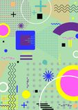 Pattern background in flat colorful memphis style.Vector illustr. Pattern background with lines, dot, triangles in flat memphis style.Vector illustration stock illustration