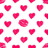 Pattern background with lipsticks prints and doodle hea Royalty Free Stock Images