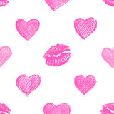 Pattern background with lipsticks prints and doodle hearts Stock Image