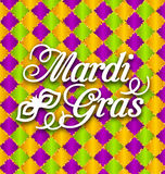 Pattern Background with Ornamental Text for Mardi Gras Stock Photography