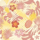Pattern background - Pineapples. Seamless pattern of tropical forest and pineapple in trendy color tones vector illustration