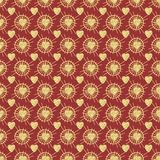 Gold hearts on a red background,seamless texture. Pattern background seamless vintage texture ornament decoration art elegant design retro, abstract stock illustration