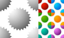 Pattern / background set with badge, starburst-like shapes. Set Royalty Free Stock Photography