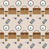 Pattern background with set of business woman things Stock Image