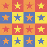 Pattern background with squares and stars. Stock Photos