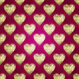 GRUNGE BACKGROUND WITH GLOSSY HEART ON DARK PINK BACKGROUND , LU Royalty Free Stock Photography