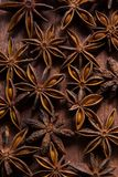 The pattern of badyan seeds on the wood Royalty Free Stock Images