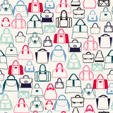 Pattern of Bags Silhouettes  in a variety of shapes Royalty Free Stock Image