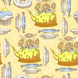 Pattern with bakery elements Stock Photo