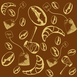 Pattern of baking, Turks, tea, coffee beans, croissants Royalty Free Stock Image
