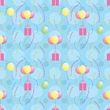 Pattern with balloons carrying presents. Blue seamless pattern with balloons carrying presents Stock Photography