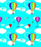 Pattern of balloons. Colorful flight of balloons in the blue sky Royalty Free Stock Image