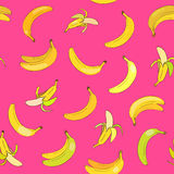 Pattern with banans. Vector seamless pattern with yellow banans on bright pink background Stock Photography
