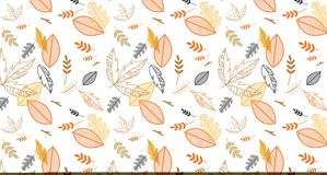 Pattern banner with hand drawn elegant autumn leaves. Design for wallpaper, gift paper, pattern fills, web page Royalty Free Stock Images