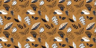 Pattern banner with hand drawn elegant autumn leaves. Design for wallpaper, gift paper, pattern fills, web page Stock Photo