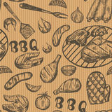 Pattern with barbecue food on craft paper. Grill hand drawn meat products on brown background. Grill Sketch Seamless texture. Royalty Free Stock Photo