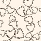 Pattern of barbed hearts. Vector pattern of the barbed wire hearts stock illustration