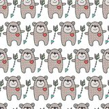 Pattern with bears. Pattern with pretty bears. Children`s background for decor, textiles stock illustration