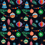 Pattern123456. Beautiful christmas vector pattern with birds on black fon Royalty Free Stock Photos