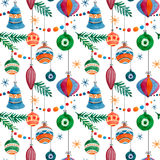 Pattern1234. Beautiful christmas vector pattern with birds on white fon Stock Image