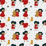 Pattern with a beautiful little girl and her toys, bears, foxes vector illustration