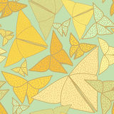 Pattern with beautiful origami butterflies drawing. Seamless bac Royalty Free Stock Photography