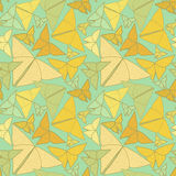 Pattern with beautiful origami butterflies drawing. Seamless bac Stock Photos