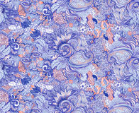 Pattern with beautiful ornate flowers. Linear painting, tropical Royalty Free Stock Image