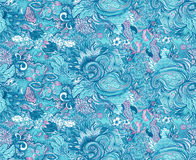 Pattern with beautiful ornate flowers. Linear painting, tropical Royalty Free Stock Photo