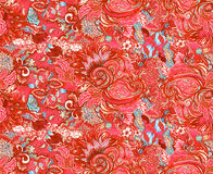 Pattern with beautiful ornate flowers. Linear painting, tropical Stock Images