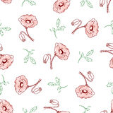 Pattern of beautiful poppy flowers. Seamless pattern of beautiful poppy flowers and green twigs with leaves on a white background in pink pastel colors. Vector Stock Images