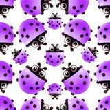 Pattern with beautiful purple ladybugs stock illustration