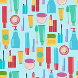 Pattern with Beauty and cosmetics tools. Seamless pattern with Beauty and cosmetics tools brushes, mascara, lipstick and pencils. Vector background for your Royalty Free Stock Photo