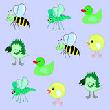 Pattern bee chicken crow mosquito duck. Cartoonish Stock Photos