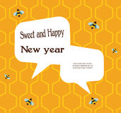 Pattern of the bee on honeycombs background for Stock Photos