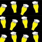The pattern of beer glasses with yellow, light, tasty, intoxicating, craft beer, lager, thick, thick foam draining along the edges. On a black background Stock Image