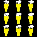 The pattern of beer glasses with yellow, light, tasty, intoxicating, craft beer, lager, thick, thick foam draining along the edges. On a black background stock illustration