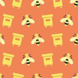 Pattern with bees and hive. Simple vector illustration with ability to change royalty free illustration